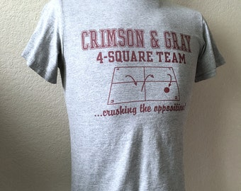 Vintage Men's 80's T Shirt, Grey, Burgundy, Four Square, Short Sleeve (S)