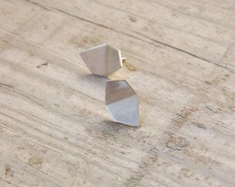 Geometric silver studs, silver stud earrings, minimalist earrings, minimalist silver studs, sister gift