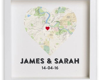 FRAMED Wedding gift for couple / Housewarming / Anniversary / New Home /  Print Personalised Heart Map, gifts for couple