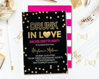 Drunk Bachelorette Party Invitation - Black Pink & Gold Confetti Bachelorette Invitation - Pink Stripe Double-sided Printable Invite
