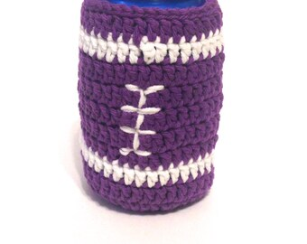 Team Colored Football Crocheted Can Cover- Purple And White