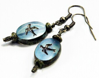 Blue Earrings, High Quality Czech Glass Beads, Flying Bird Motif, Picasso Finish, Antiqued Brass Metal, Casual Drop Earring Under 20