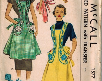 1950 McCalls 1577 Cover-all Apron Sewing Pattern Vintage Retro Full Size Small with Transfer for Embroidery