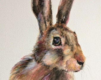 "Hare 16"" x 12"" Original watercolour painting"