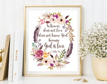 Bible quotes John 4:8 GOD is love bible verse print framed quote scripture christian quote Calligraphy poster floral wall art flowers
