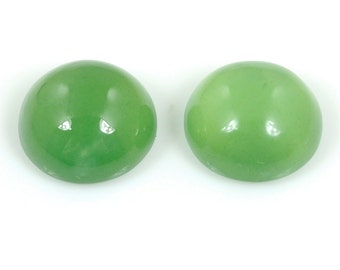 24.40cts 100% Natural Green Serpentine Gemstone Round Cabochon 15*8h Earring