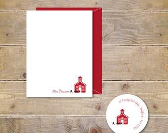 Gift For Teacher, Teacher Gift, Christmas, Holiday, Personalized Teacher Stationery, Stationary, Note Cards, Teacher's Gift, Teacher Cards