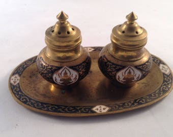 Vintage cloisonné Brass tray Salt and Pepper set
