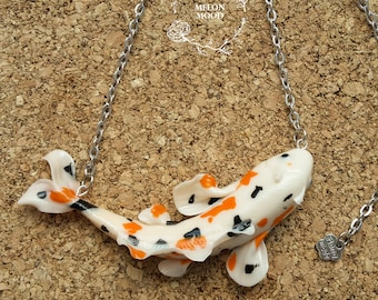 Koi fish necklace, Polymer clay necklace, Handmade jewelry, Gift idea