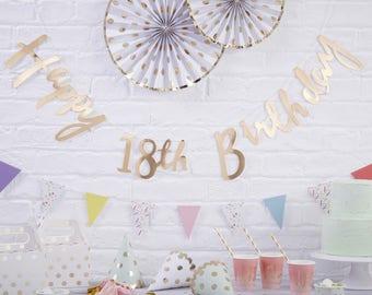 Gold Happy 18th Birthday Banner, 18th Birthday Bunting, 18th Birthday Party Decorations