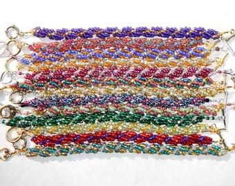 Swirl Glass Seed Bead Bracelets Hand Made With Toggle Clasp