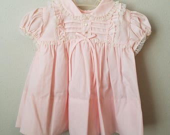 Vintage Girls Pink Dress with Lace Trim by C.I. Castro -Size 12 months- New, never worn