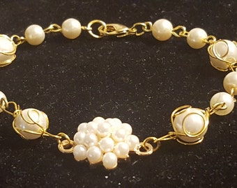 Wired-Pearl and Cluster Bracelet
