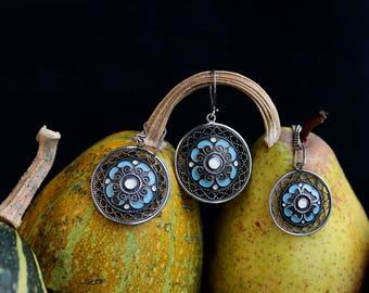 Sterling silver enamel filigree earrings and pendant. Made in USSR