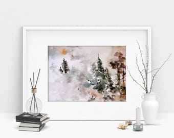 Landscape watercolor painting, trees and fog nature painting, Original watercolor painting, abstract realism nature painting