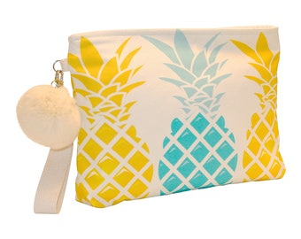 Gold/Blue Pineapple wristlet pouch, Waterproof lined, Made in Hawaii