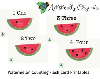 Watermelon Counting Flash Cards Instant Download | 10 Homeschooling Flash cards, Number Counting Cards