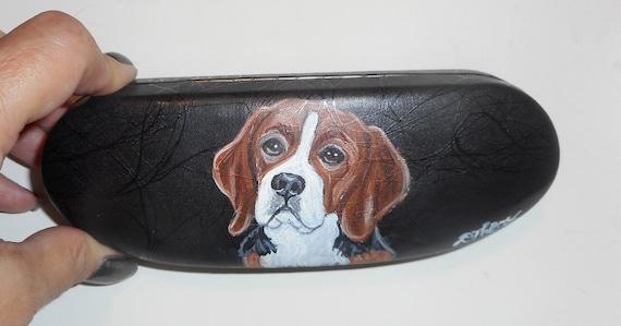 beagle dog hand painted leather eyeglass case box