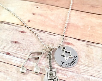 Rock and Roll Necklace,  musician necklace, music necklace, guitar, music lover, band member, guitar player, 90's music, 80's music