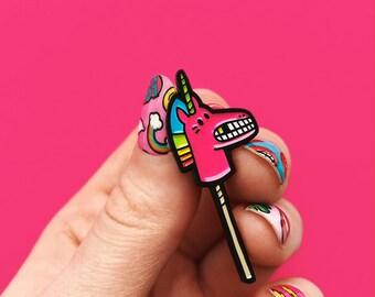 Hobby horse pink, enamel pin