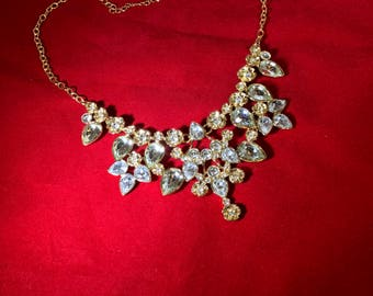 Vintage-Necklace-Rhinestones-Sha-Flowers-Gold-Jewelry-Accessories