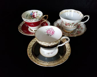 Vintage  Teacups and Saucers - Set of 3