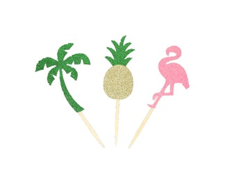 "Tropical FLAMINGO - PINEAPPLE - PALM Tree Glitter 3-1/2"" Cupcake Toppers Birthday / Beach Summer Theme Party Decor Choose Package Amount"