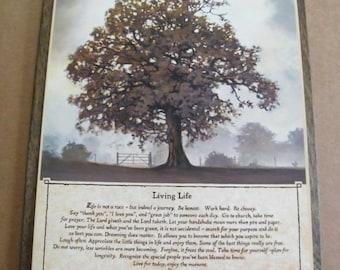 LIVING LIFE tree INSPIRATION saying Bonnie Mohr Inspirational  Wood Sign