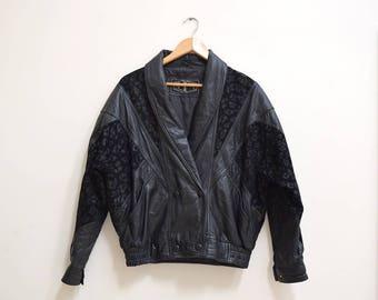 Black Leather Jacket With Leopard Print, Vintage Jacket, 1960s Bomber Jacket, Size Large, Black, Oversized Leather Jacket, Motorcycle Jacket