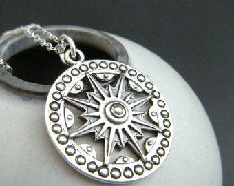 "long boho sundial necklace rustic silver large compass sun sunburst jewelry sterling pendant bohemian oxidized patina traveler gift 1 1/8"""