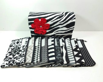 Cash Envelope Wallet JUMBO size, 8 to 15 Cash Envelopes & Pouch -Zebra Black Grey- (It can be used with the Dave Ramsey system)