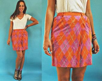 vintage 1980s Valentino Suede Leather Diamond Plaid High Waist Skirt