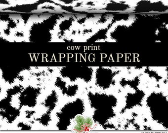 Cow Print Wrapping Paper   Custom Black or Brown And White Cow Print Gift Wrap Paper  Roll 9 feet or 18 feet  Great For Any Occasion.