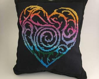 Handcrafted Cross-Stitch Heart Pillow
