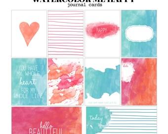 Aquarel Me Happy - 3 x 4 en 4 x 6 Project Life geïnspireerd digitale afdrukbare scrapbooking journaling en vuller kaarten-instant download