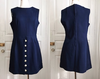 1960s / 60s Vintage Mod Navy Blue Shift Minidress / Dress / Large / Extra Large