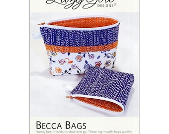 Becca Bags Pattern by Joan Hawley, Lazy Girl Designs.  Zipper Cosmetic bag