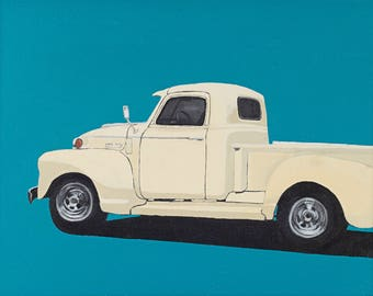 Butter Yellow Chevy original painting