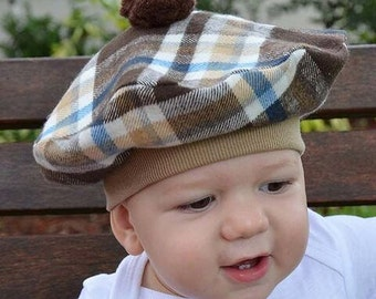 Baby French Beret with Pom Pom Flannel Browns Tans White Blue Plaid Scottish Tam Winter Kids Hat Baby Hat