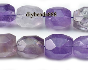 Ametrine,15 inch full strand natural Ametrine faceted nugget beads,crystal quartz,centre drilled beads 15-16x20mm