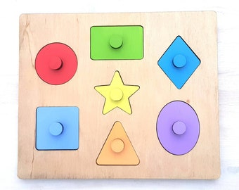 Wooden puzzle Montessori puzzle Shape and color toy Shapes sorter Puzzle for toddler Puzzle for kids Baby puzzle Toddler gift 1st Birthday