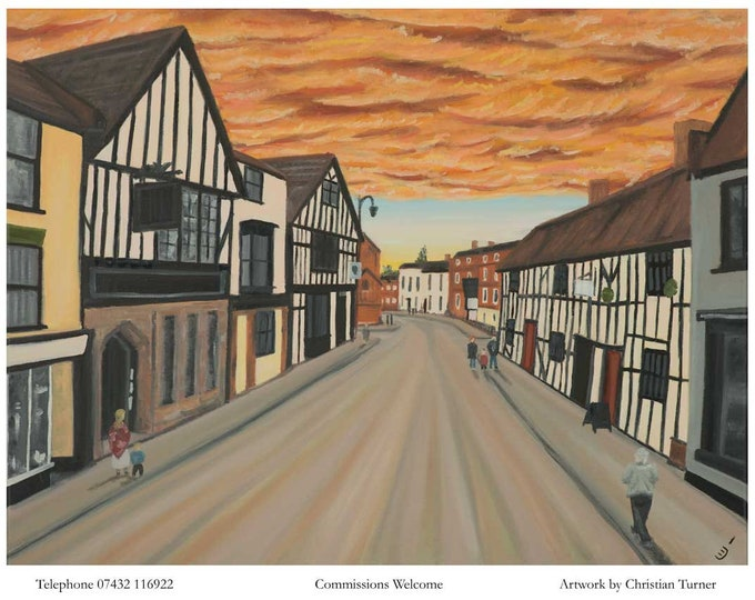 Welsh Row, Nantwich - original oil painting on linen canvas by Christian Turner