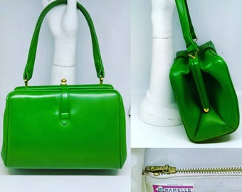 1960's Vibrant Green Box Bag By Chamelle by Essell Handbag - Good Condition - Only 65 Pounds!