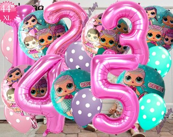 "44"" Premium Number Hot Pink Rose GOLD Channel letter happy birthday  Balloon balloon latex 1 2 3 4 5 0 lol doll surprise"
