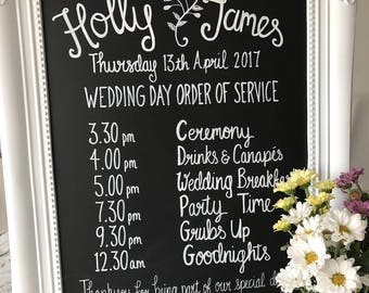 Personalised wedding chalkboard sign - order of service