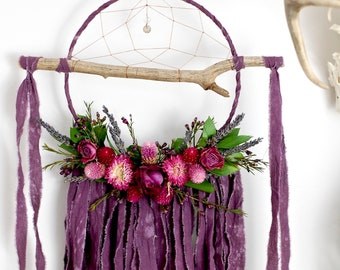 Purple Branch Dreamcatcher with Dried Flowers