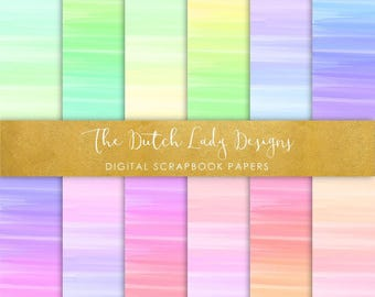 Digital Scrapbook Paper - Rainbow Paint Smears - 12 Papers in .JPEG File - INSTANT DOWNLOAD