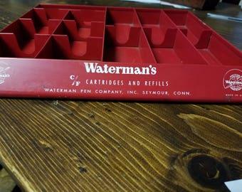 Waterman's Fountain Pen Display Advertising Vintage Refills Cartridge Metal