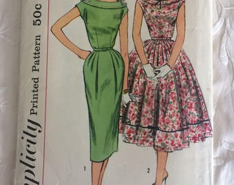1950s 50s Wiggle Dress w Two Skirts Full Straight Simplicity 1995 Bust 34