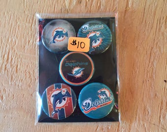 Button Magnets - Miami Dolphins